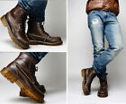 fashion mens lace up leather ankle boots flat oxford round toe shoes plus size