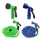 New Expanding Latex 50 75 100 Feet Garden Water Hose Spray Nozzle Green&Blue