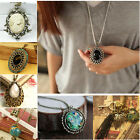 Crystal Vintage Resin Bead Necklace Dangle Charm Pendant Sweater Long Chain 27''