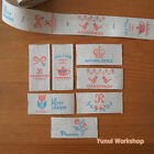 1 Metre: Cut & Sew Labels/ Linen Cotton Ribbon 25mm Cross-stitch Pattern