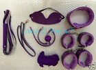 Purple/ Red Bondage Set Rope Ball Gag Cuffs Whip Collar Blindfold Adult Sexy Toy