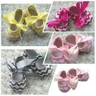 Cute 3-12M Baby Toddlers Kids Girls Wave Stripe Anti-slip Bow Soft Flat Shoes