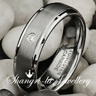 MENS Women TUNGSTEN CARBIDE WEDDING RING ENGAGEMENT BAND Swaorvski DIAMOND JS033