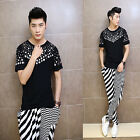 Newest Men's Fashion Sequins Round Neck Short Sleeve Soft Cozy T-shirt Tops Tee