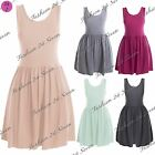 Womens Ladies Sleeveless Scoop Neck Celeb Plain Flared Ruched Tunic Skater Dress