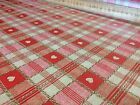 Vinyl PVC Tablecloth Wipe Clean Red Beige Checks Gingham Hearts Oilcloth 140 cm