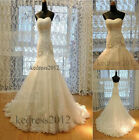 Stock New Mermaid White/ivory Lace Bridal Wedding Dress Size 6 8 10 12 14 16 18