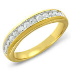 Channel Wedding Band Anniversary Ring Solid 10k Gold 1/2 CT Round Diamond