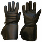 Cold Weather Leather Biker Gloves Motorbike Motorcycle Thermal Gloves Long  MENS