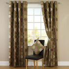 Spots Jacquard Eyelet Top Readymade Lined Curtains - Green / Brown