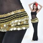 Belly Dance Dancing Hip Scarf Skirt Wrap Costumes Gold Coins Belt velvet Costume