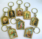 VARIOUS SAINTS Key Ring Wood Gold Highlights Religious Gift