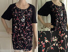 Fab Ex Evans Plus Size Black Bird Branch Print Tunic Top 16 18 20 22 24 26 28