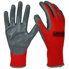 *PICK A NUMBER OF PAIRS* Grease Monkey Red Nitrile Coated Work Gloves, Large