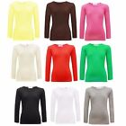Girls Long Sleeve Crew Neck Plain Top Kids T-Shirt Age 2-13 Years