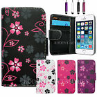 NEW FLOWER WALLET LEATHER FLIP CARD CASE COVER POUCH FOR VARIOUS PHONE MODELS