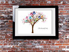 Personalised FAMILY TREE Owl Typography Picture Print Gift Canvas Wall Word Art