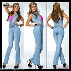 Jeans Overall Sexy Womens Ladies Light Blue Denim Jumpsuit 6,8,10,12,14 Size UK