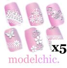 5x 3D Nail Art Sticker Decal Silver Lace Snowflakes Heart Bow Music Pink Crystal