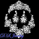 Clear Swarovski Crystal Rhinestones & Pearls Tiara Necklace Earrings Bridal Set