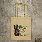 GO VEGAN shoulder tote bag different colours protest animal rights peace hippy