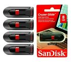Lot of 4 Sandisk CRUZER GLIDE 8GB USB 2.0 Flash Drive MEMORY STICK WHOLESALE
