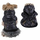 Puppy Dog Pet Snap Closure Coat Leopard Trim Hoodie Winter Warm Clothes Black
