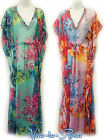 New Vintage style Sheer Kaftan Festival Boho Over Dress Holiday Beach Cover-up