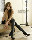 fashion womens over knee length faux leather boots new high heel stilettos shoes