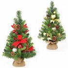 60cm Decorated Christmas Tree with Burlap Base - Indoor Use - Red or Gold