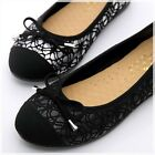 BN Lacey Bowed Wedding Ballet Flats Ballerina Comfy Padded Shoes BLACK SILVER
