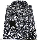 Relco Mens Black White Grey Floral Long Sleeved Shirt Mod Skin Retro Indie New