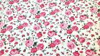 PINK LARGE ROSE PRINT FABRIC 100% COTTON by the FQ or metre