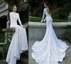 White Ivory Mermaid Lace Wedding Bridal Dress Size 4 6 8 10 12 14 16 ++++