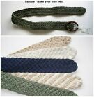 """Fabric Cord Weave Make Your Own Belt  2"""" wide Green Blue Off White Beige"""