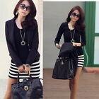 Black Sexy Women's Cotton Lady Long Sleeve Stripe Crew Neck Mini Dress Casual