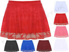 NEW WOMENS LADIES STRETCH HIGH WAIST LACE MESH FLARED MINI SHORT SKATER SKIRT