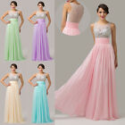 SALES~Women Beaded Evening Party Gown Prom Bridesmaid Long Wedding Dress UK 6~20