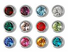 12 Pairs Studex Ear Piercing Mix Birthstones Steel Stud Earrings Bezel Setting