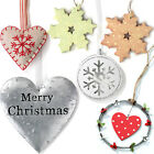 *CHRISTMAS* HANGING Tree Decoration Heart Metal Bauble Wood Hanger Ornament Gift