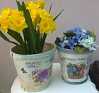 Set of 2 Shabby Chic French Distressed Wooden Flower Herb Plant Pot Planter Pots