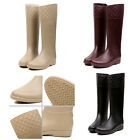 Women's New Fashion Ladies Rubber Solid Shoe Knee High Boot Rainboot XWX1180