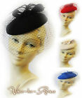 New Ladies Vtg 1940s Glamour Retro WW2 Wartime Pin-up Pill Box Hat with Veil