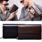 AP158 New Men Faux Leather Clutch Cards Money Clips Phone Pocket Double Zipper