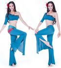 Sexy Belly Dance Costumes Set 3pieces One Shoulder Top&Bell bottoms &Hip scarf
