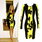 Celeb Floral Ladies Long Sleeve Bodycon Party Tunic Evening Cocktail Dress 8-18