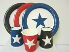 24PK  STAR PARTY PACK -INCLUDES 24 DINNER PLATES &  24 PAPER CUPS RED BLACK BLUE