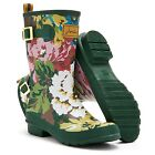 Joules Molly Welly Green Floral Printed Mid Calf Wellies Boots UK 3-8 Free p&p