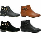 New Womens Ankle Boots Low Heel Chelsea Booties Cut Out Buckles Shoes Size UK