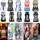 Women Printed Tank Tops Vest Blouse Gothic Punk Party Sleeveless T-Shirt Shirts